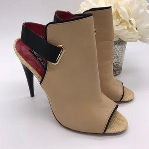 CHARLES JOURDAN Peep Toe Stiletto Ankle Strap Heel